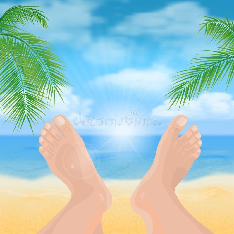 Ноги на пляже иллюстрация вектора