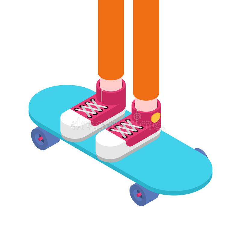 Ноги на стиле скейтборда равновеликом Illustra вектора скейтбордиста иллюстрация штока