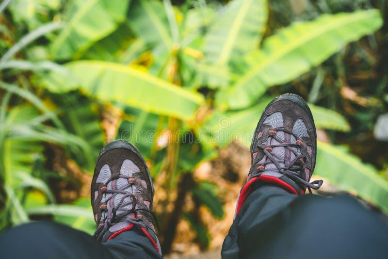 Ноги смертной казни через повешение с trakking обувью после длинного похода от гор на острове Santo Antao, Кабо-Верде Листья бана стоковая фотография