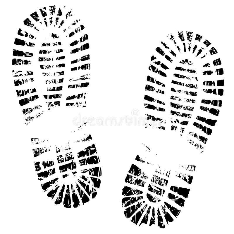 Ноги человека печати, силуэта ботинка следов ноги иллюстрация вектора