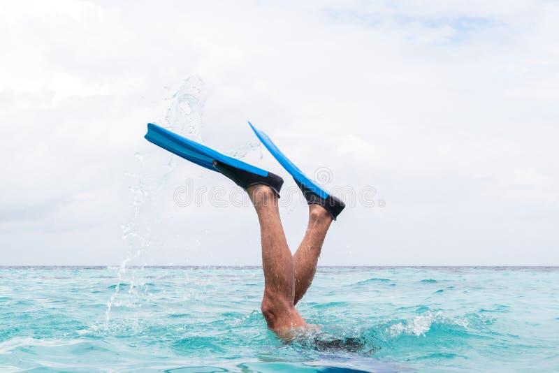 Ноги человека с флипперами ныряя в воду стоковые изображения rf
