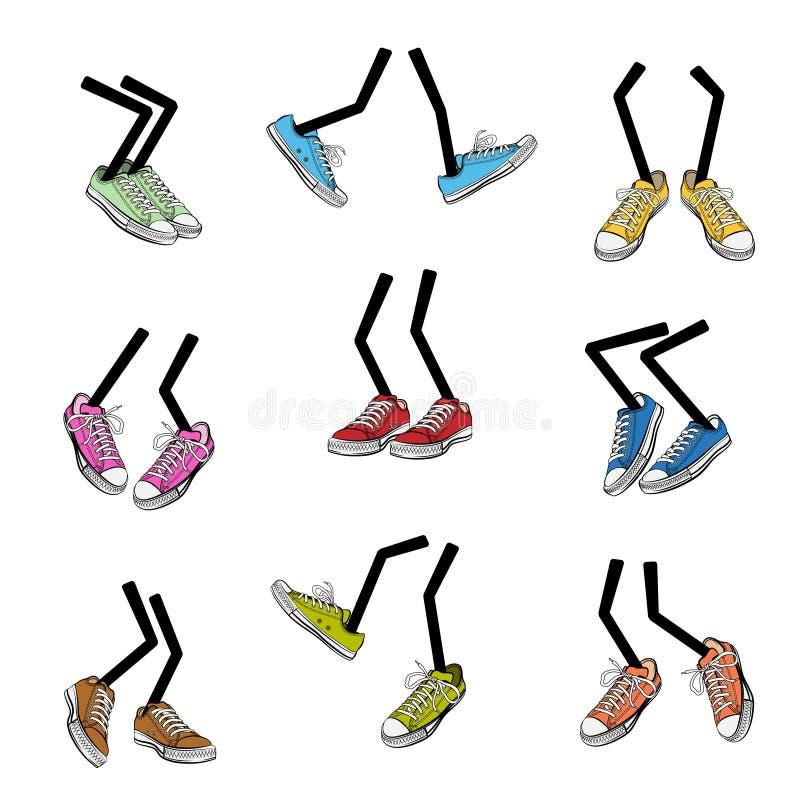 Ноги шаржа идя иллюстрация штока