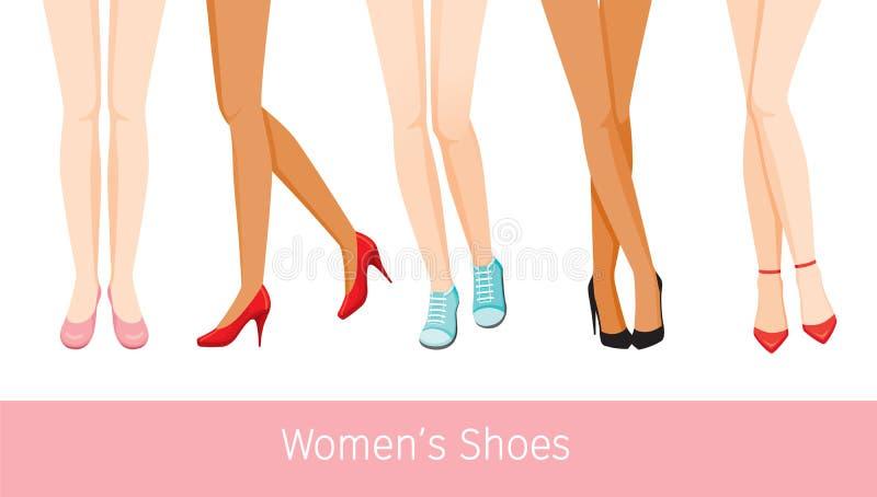 Ноги Women's с различной кожей и типы ботинок, женщин Sta бесплатная иллюстрация