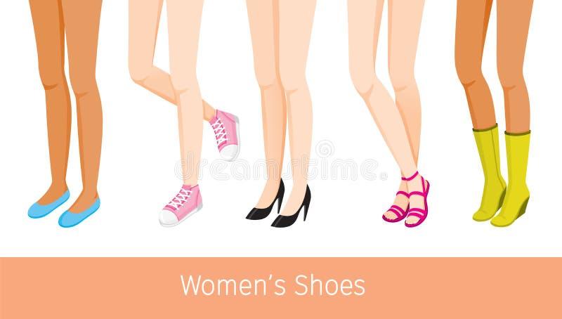 Ноги Women's с различной кожей и типы ботинок иллюстрация вектора