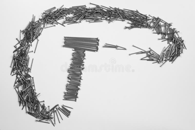 Ногти металла изолированные на белой предпосылке инструменты деятельности стоковые изображения