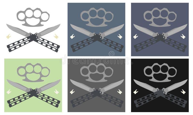 Ножи бабочки с стальной латунной эмблемой костяшки и зубов бесплатная иллюстрация