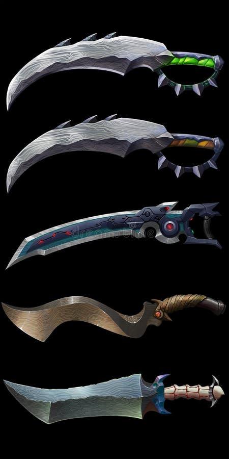 Ножи научной фантастики чужеземца Оружия воина Проектирование промышленного объекта бесплатная иллюстрация