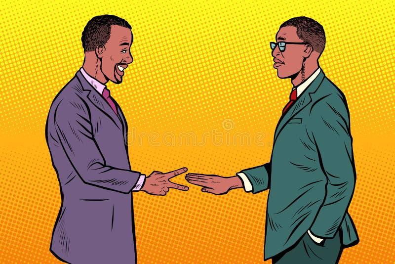 Ножницы африканского утеса игры бизнесменов бумажные иллюстрация вектора