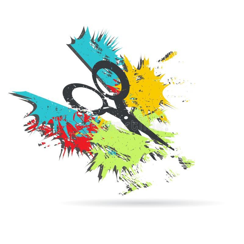 Ножницы Иллюстрация вектора Grunge иллюстрация вектора