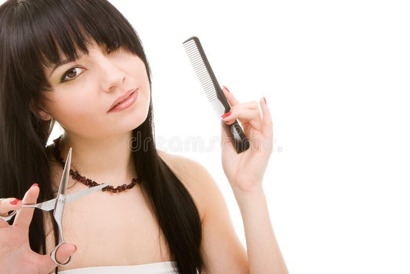 ножницы парикмахера брюнет стоковое фото rf