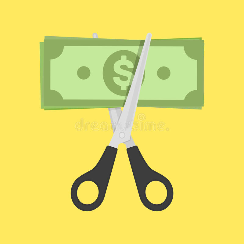 Ножницы режа счет денег иллюстрация штока