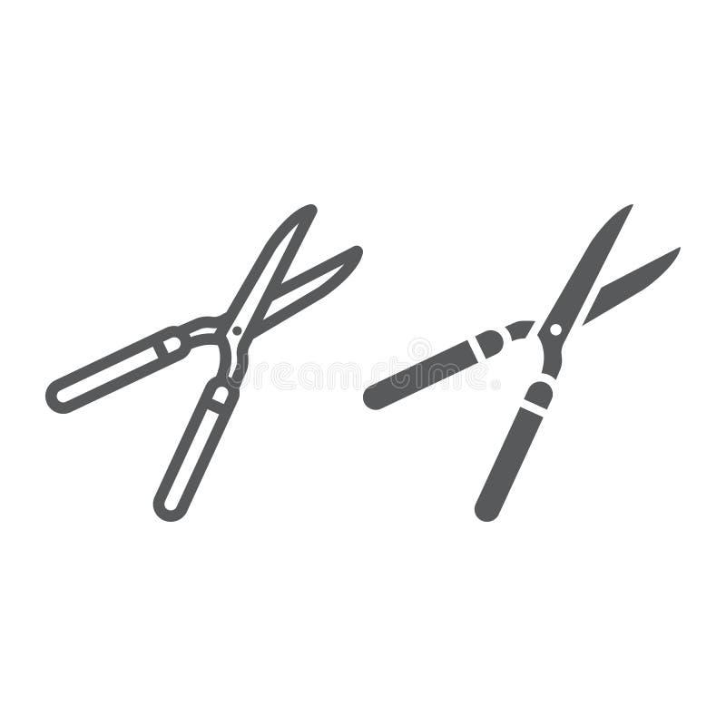 Ножницы сада выравниваются и значок глифа, обрабатывая землю иллюстрация вектора