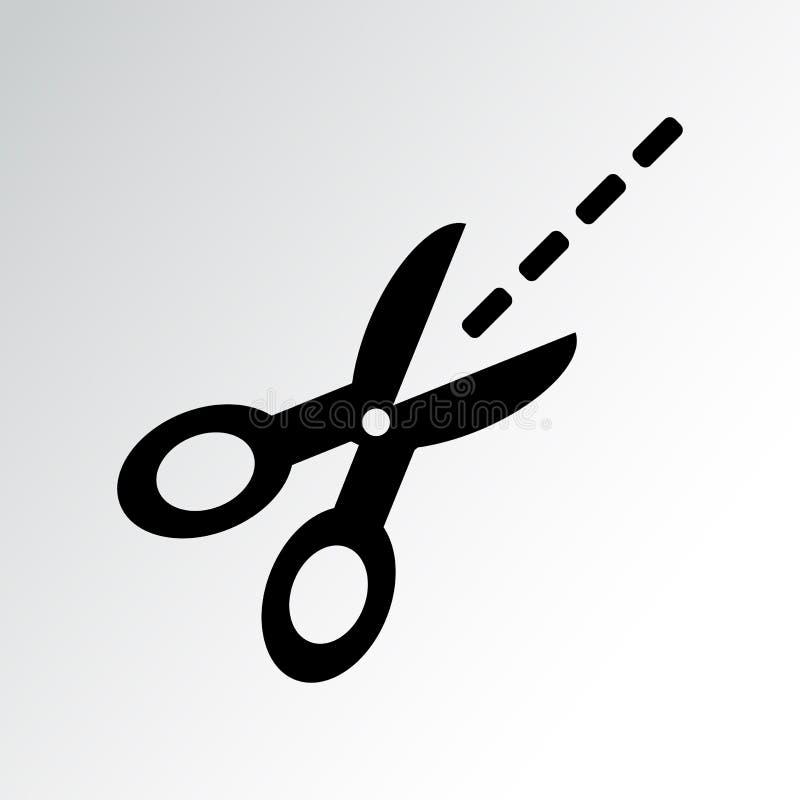 Ножницы с отрезанными линиями Значок вырезывания талона r иллюстрация вектора