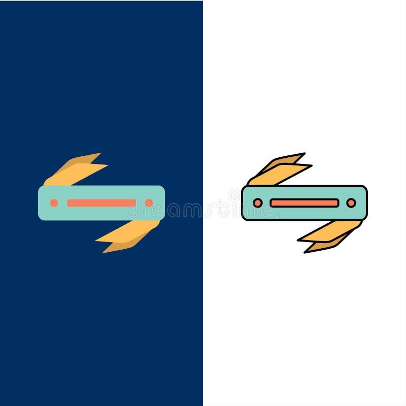 Нож, бритва, диез, значки лезвия Квартира и линия заполненный значок установили предпосылку вектора голубую иллюстрация вектора