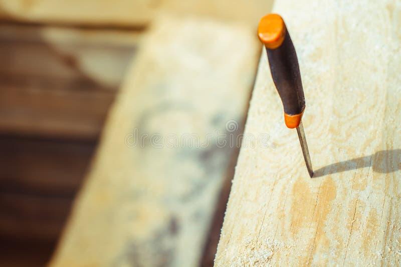 Нож вставленный в дереве стоковые изображения rf