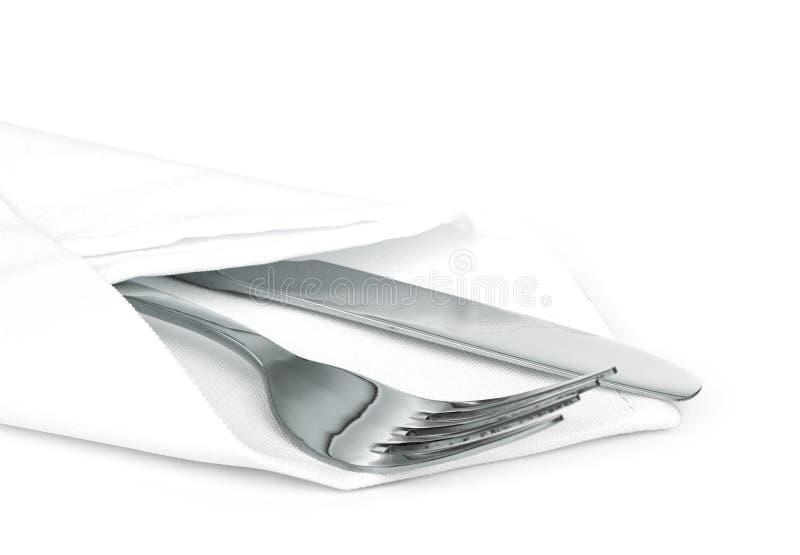 Нож и вилка с linen serviette стоковое фото