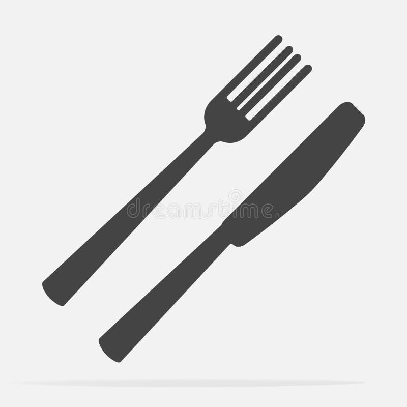 Нож и вилка cutlery Поставьте установку на обсуждение Illustratio значка вектора иллюстрация вектора