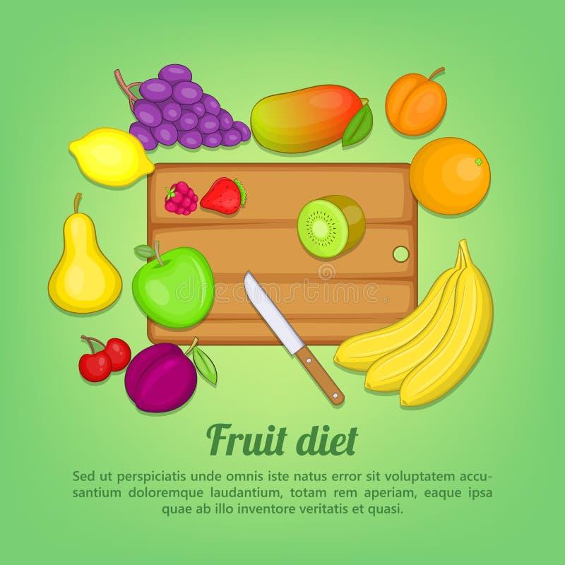 Нож отрезка концепции плодоовощей, стиль шаржа иллюстрация вектора
