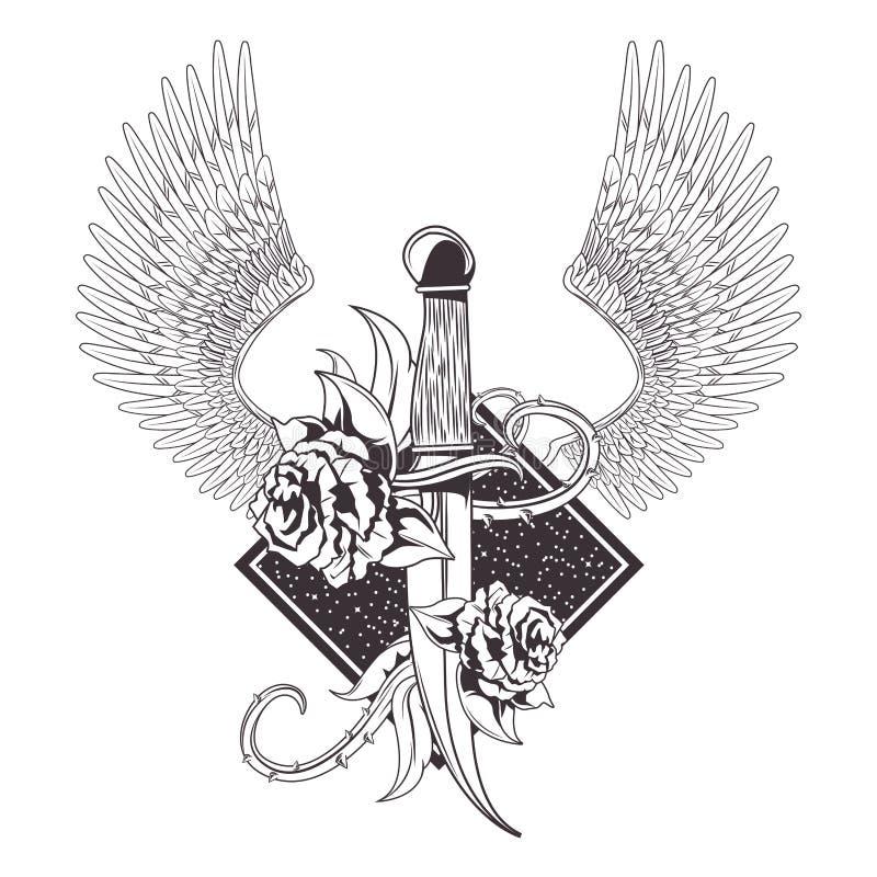 Нож со значком татуировки роз вычерченным бесплатная иллюстрация