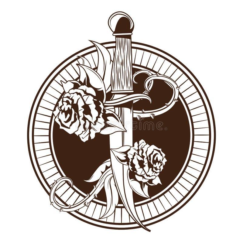 Нож со значком татуировки роз вычерченным иллюстрация штока