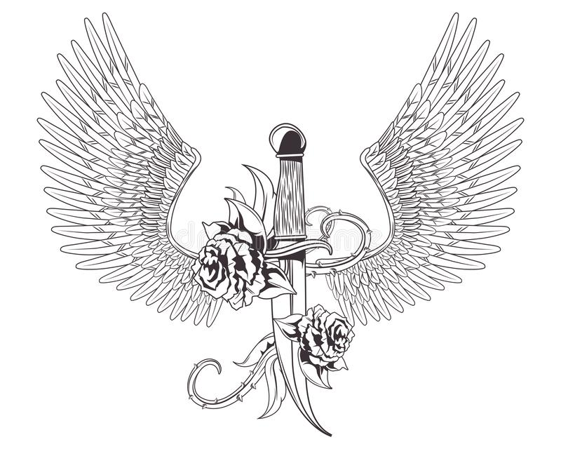 Нож со значком татуировки роз и крыльев вычерченным бесплатная иллюстрация