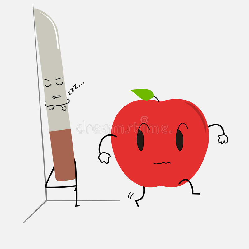 Нож спать и вспугнутый шарж яблока стоковые фото