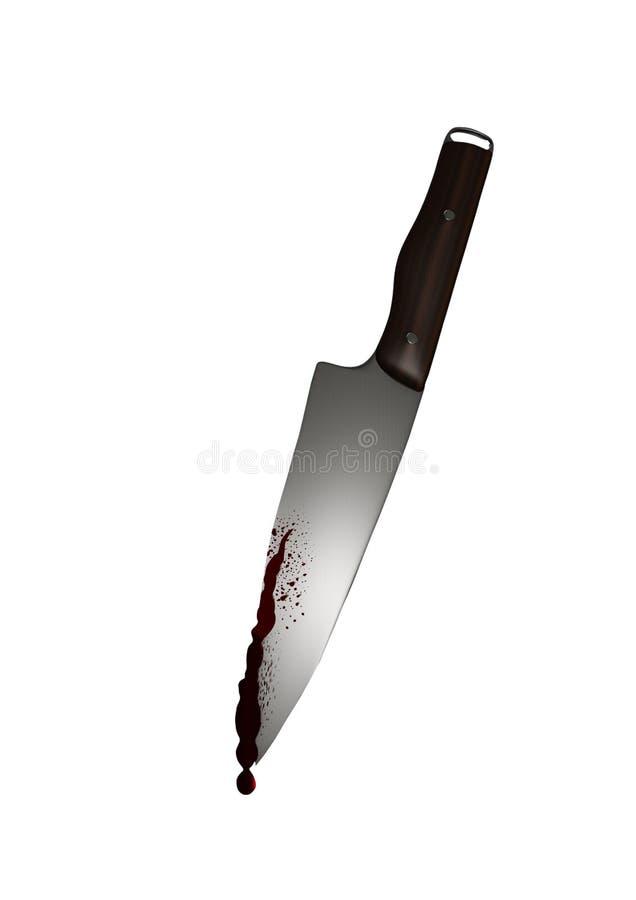 Нож с ужасом кровотечения убийства злодеяния насилия крови иллюстрация штока