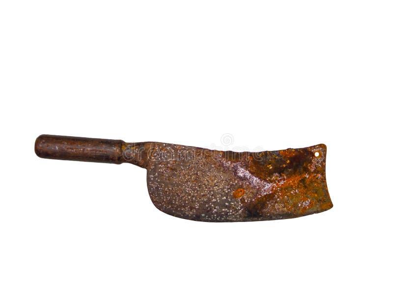 Нож ` s мясника ножа или дровосека старого металла ржавый прерывая изолированный на белой предпосылке стоковые фотографии rf