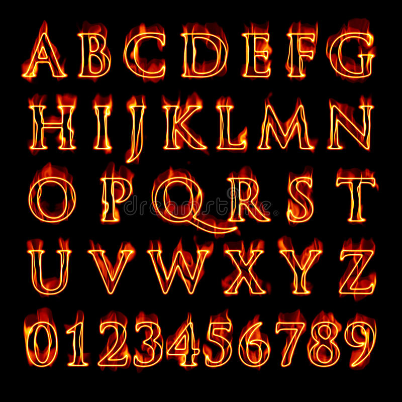 номера алфавита пламенеющие иллюстрация штока