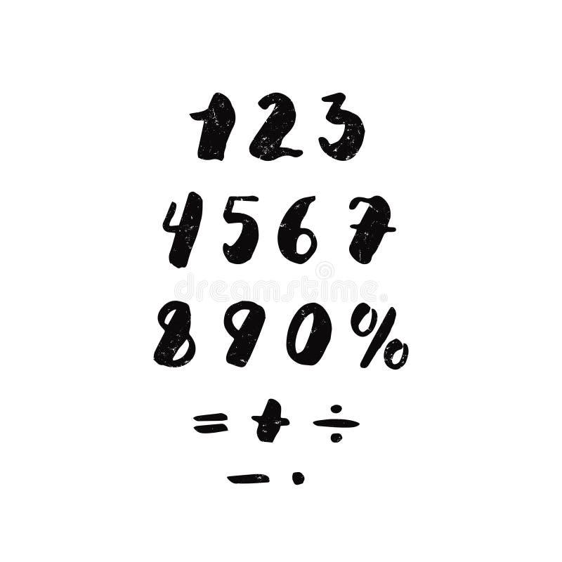 Номера и арифметические знаки покрывают краской рукописную текстурированную литерность Битник и винтажный стиль иллюстрация вектора