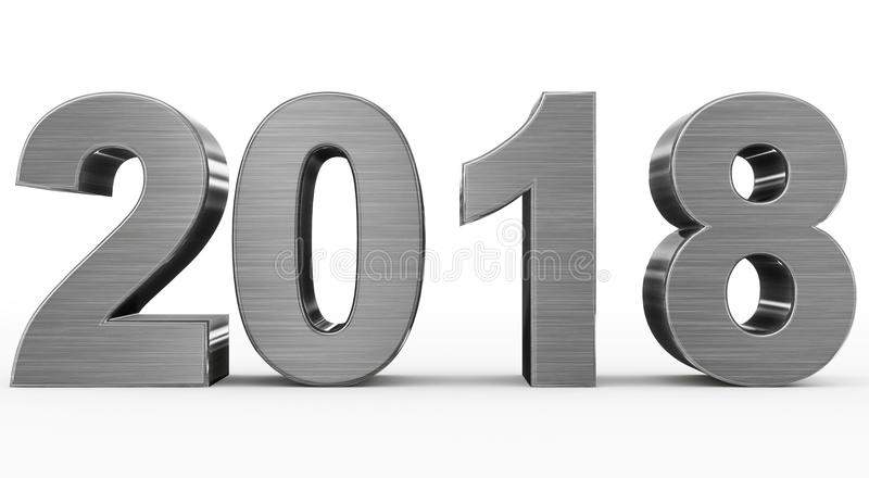 Номера металла 3d года 2018 изолированные на белизне иллюстрация вектора