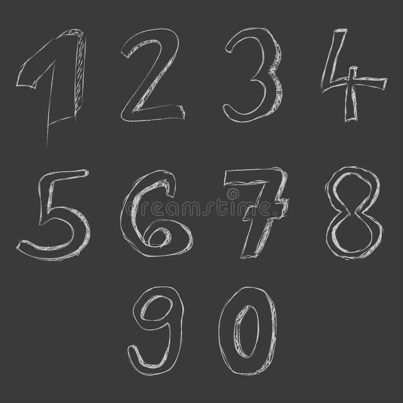 Номера нарисованные рукой на классн классном иллюстрация вектора