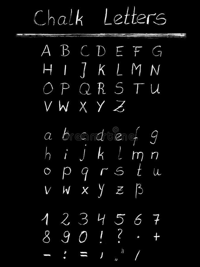 Номера, письма и знаки мела бесплатная иллюстрация
