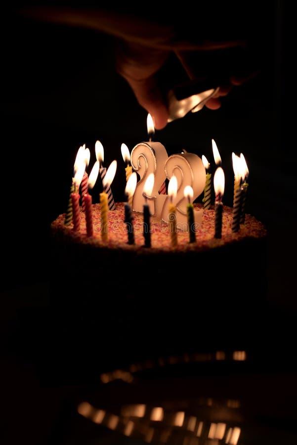 22 номера с праздничной свечой для торта праздника 22 рождения иллюстрация штока