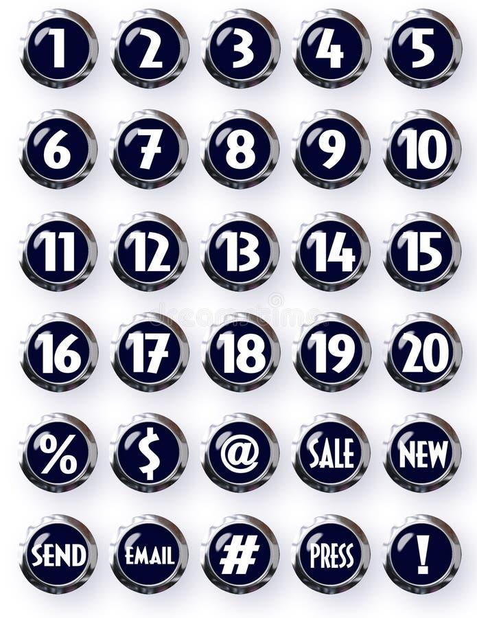 Номера черных кнопок хрома круглых белые и другие символы иллюстрация вектора