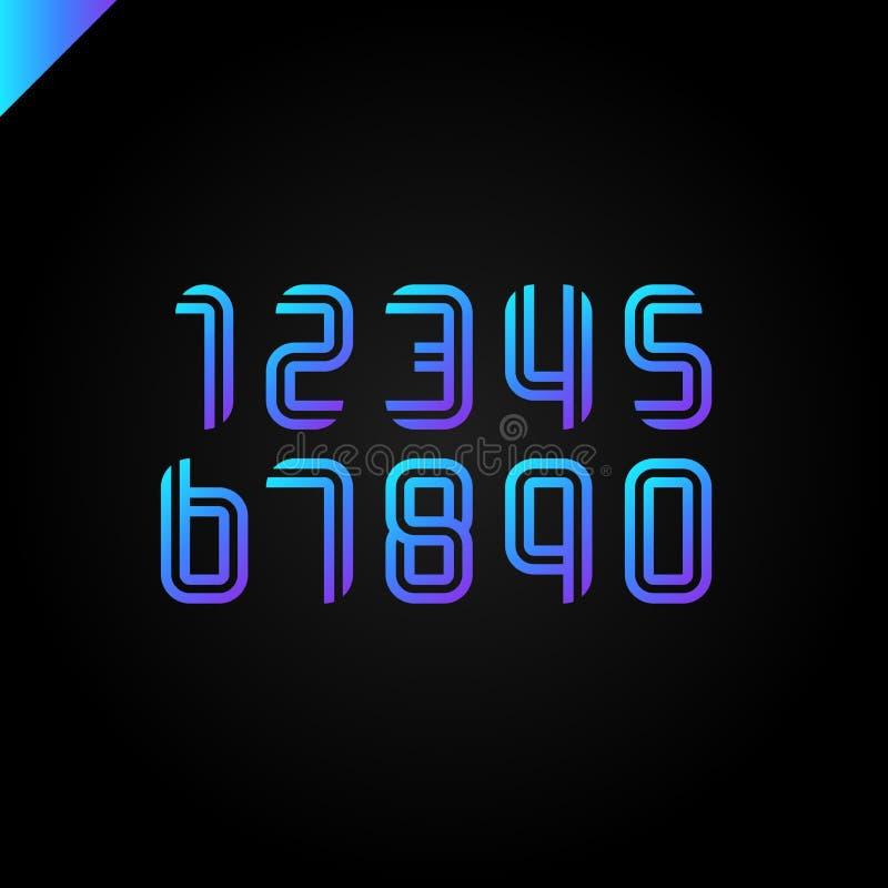 Номера шрифта спорта установили логотипы сформированный параллельными линиями Vector дизайн для знамени, представления, интернет- иллюстрация штока