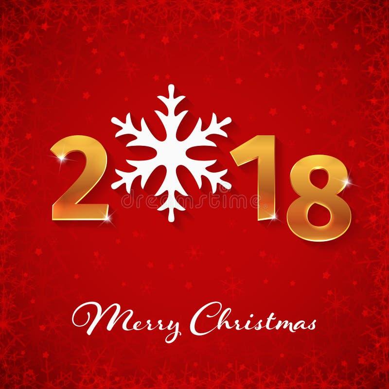 Номера 3d 2018 Новых Годов золотые и с Рождеством Христовым текст на красной абстрактной предпосылке зимы с рамкой снежинок иллюстрация вектора