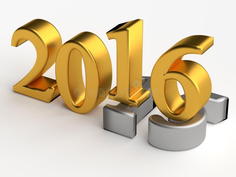 номера 3d 2016 Новых Годов над 2015 иллюстрация вектора