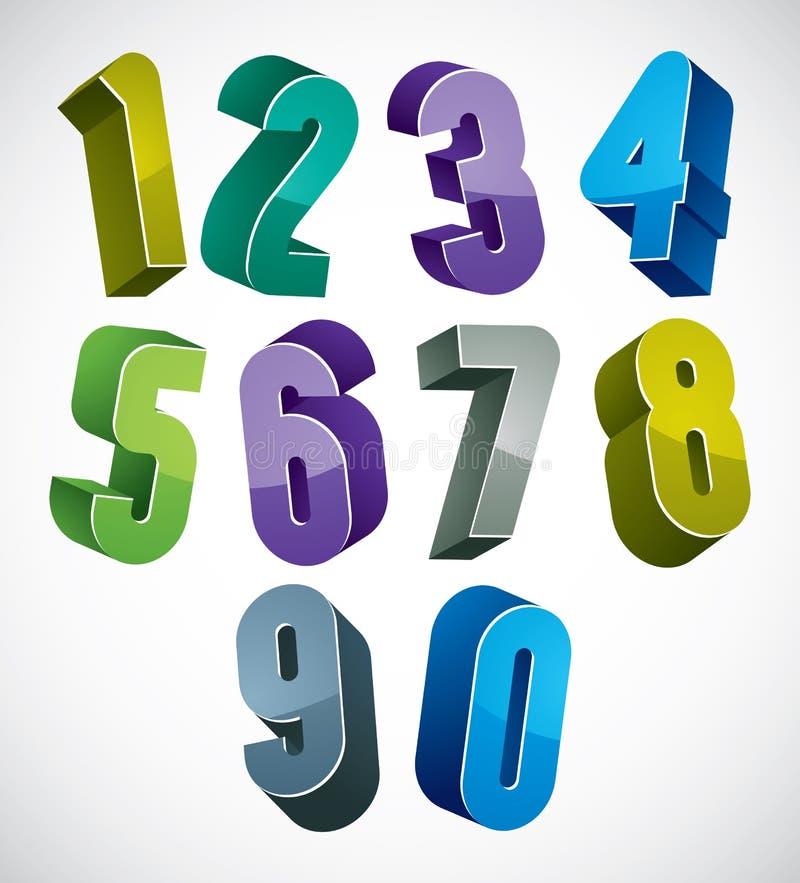 номера 3d установили в голубые и зеленые цвета сделанные с округлыми формами иллюстрация вектора