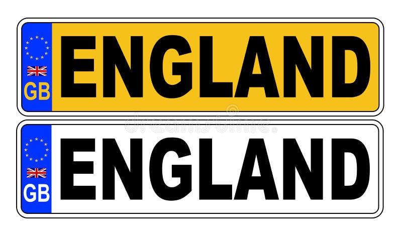 Номерной знак Великобритании передний и задний с текстом Англией бесплатная иллюстрация