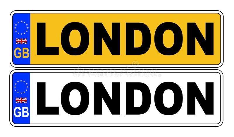 Номерной знак Великобритании передний и задний с текстом Лондоном иллюстрация вектора