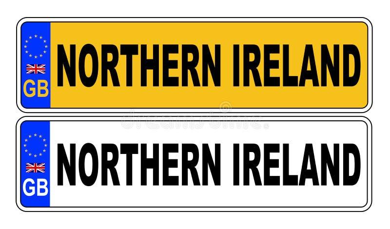Номерной знак Великобритании передний и задний с текстом Северной Ирландией иллюстрация вектора
