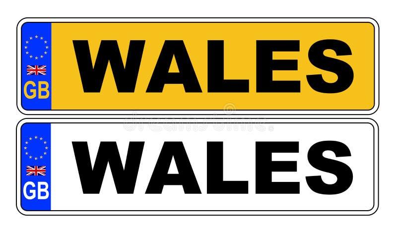 Номерной знак Великобритании передний и задний с текстом Уэльсом иллюстрация штока