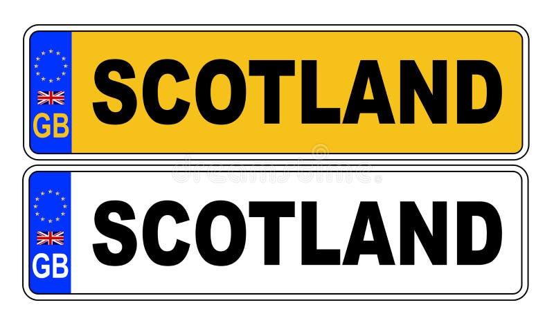 Номерной знак Великобритании передний и задний с текстом Шотландией иллюстрация штока