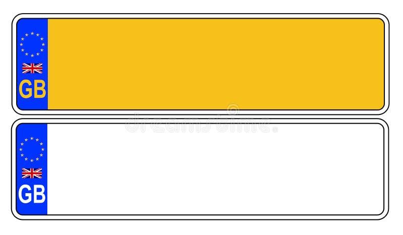 Номерной знак Великобритании передний и задний иллюстрация штока