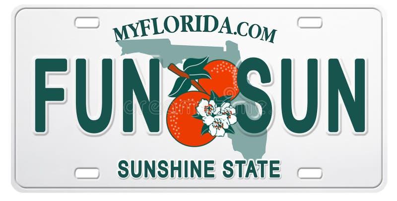 Номерной знак Флориды с потехой и Солнцем текста иллюстрация вектора
