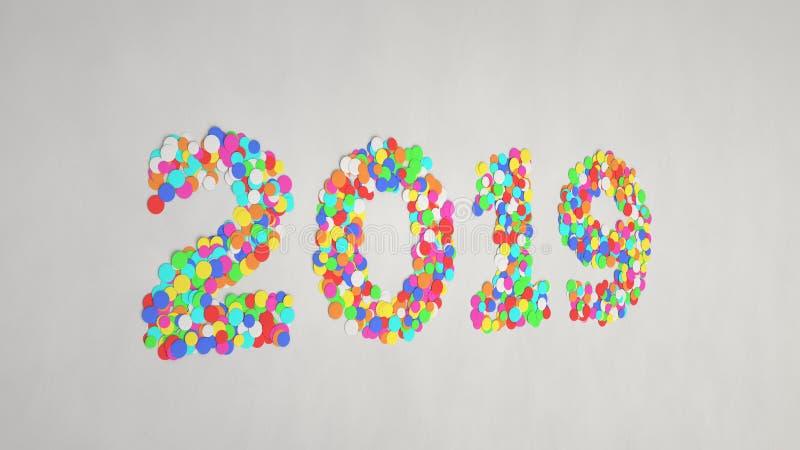 2019 номеров сделанных от красочного confetti стоковое фото rf