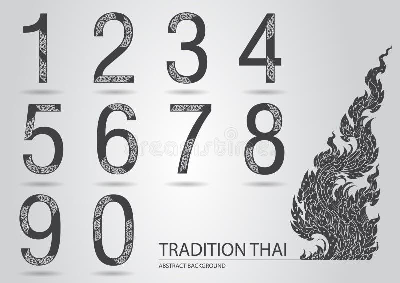 Номер конспекта установленный сделанный от линии тайской картины искусства иллюстрация вектора