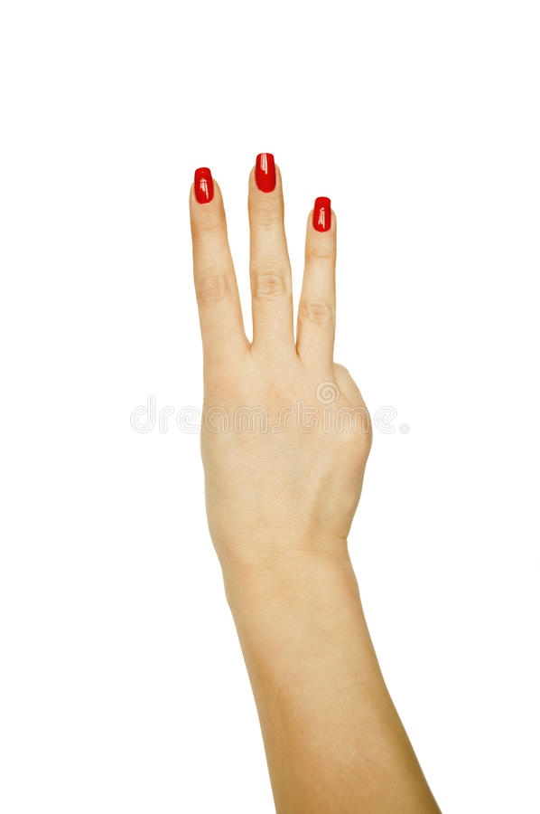 номер руки показывая женщину 3 стоковые изображения