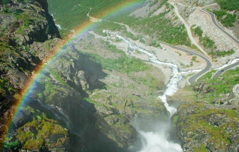 Норвегия Взгляд Trollstigen от моста от Stigfosse стоковое изображение